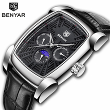 BENYAR Men's Watches Quartz Wristwatch Mens Watches Top Brand Luxury Watch Men Business Moon Phase Watch Relogio Masculino benyar mens watches top luxury business watch moon phase full steel quartz chronograph sport military watch support dropshipping