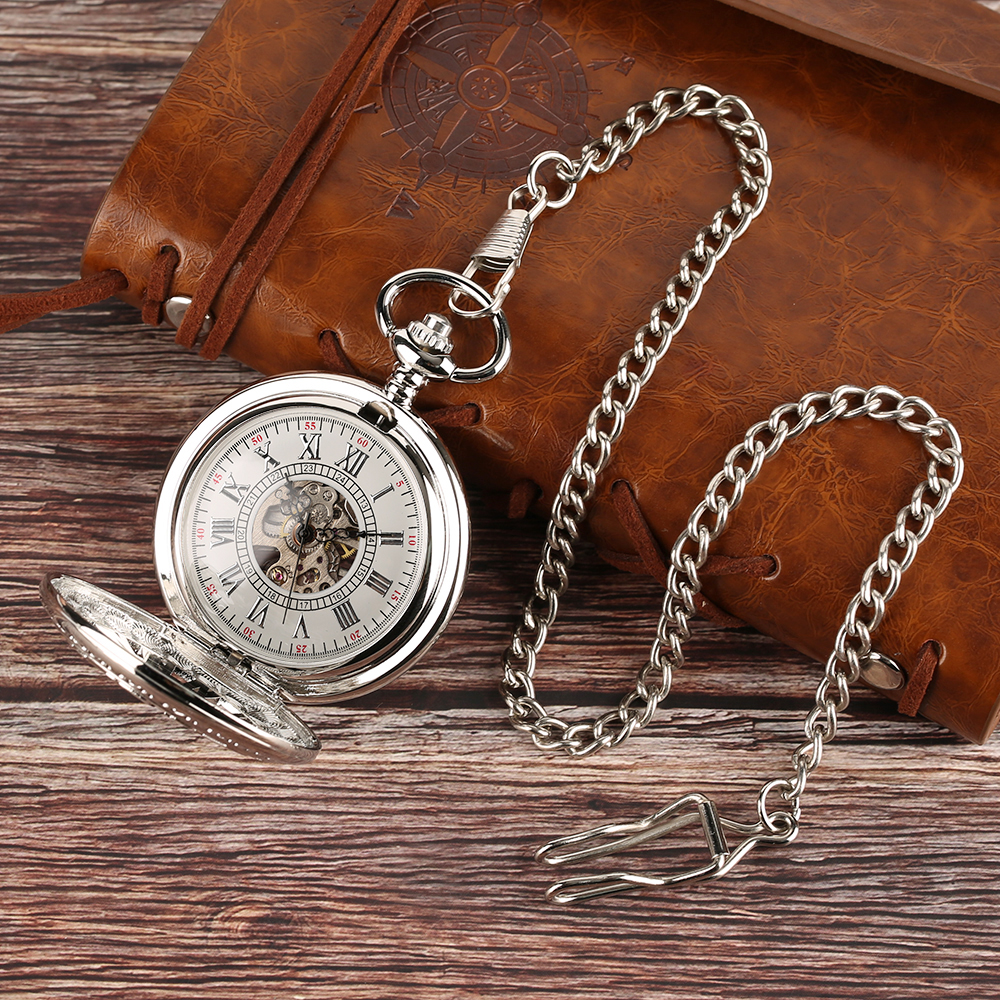Antique Silver Pendant Pocket Watch Hand Winding Mechanical Pocket Clock Necklace Vintage Steampunk Hollow Watches Unisex Gift F