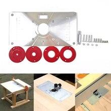 Многофункциональный фрезерный стол, вставная пластина, алюминиевый фрезерный стол, вставная пластина w/4 кольца для деревообрабатывающих скамейок, фрезерный стол