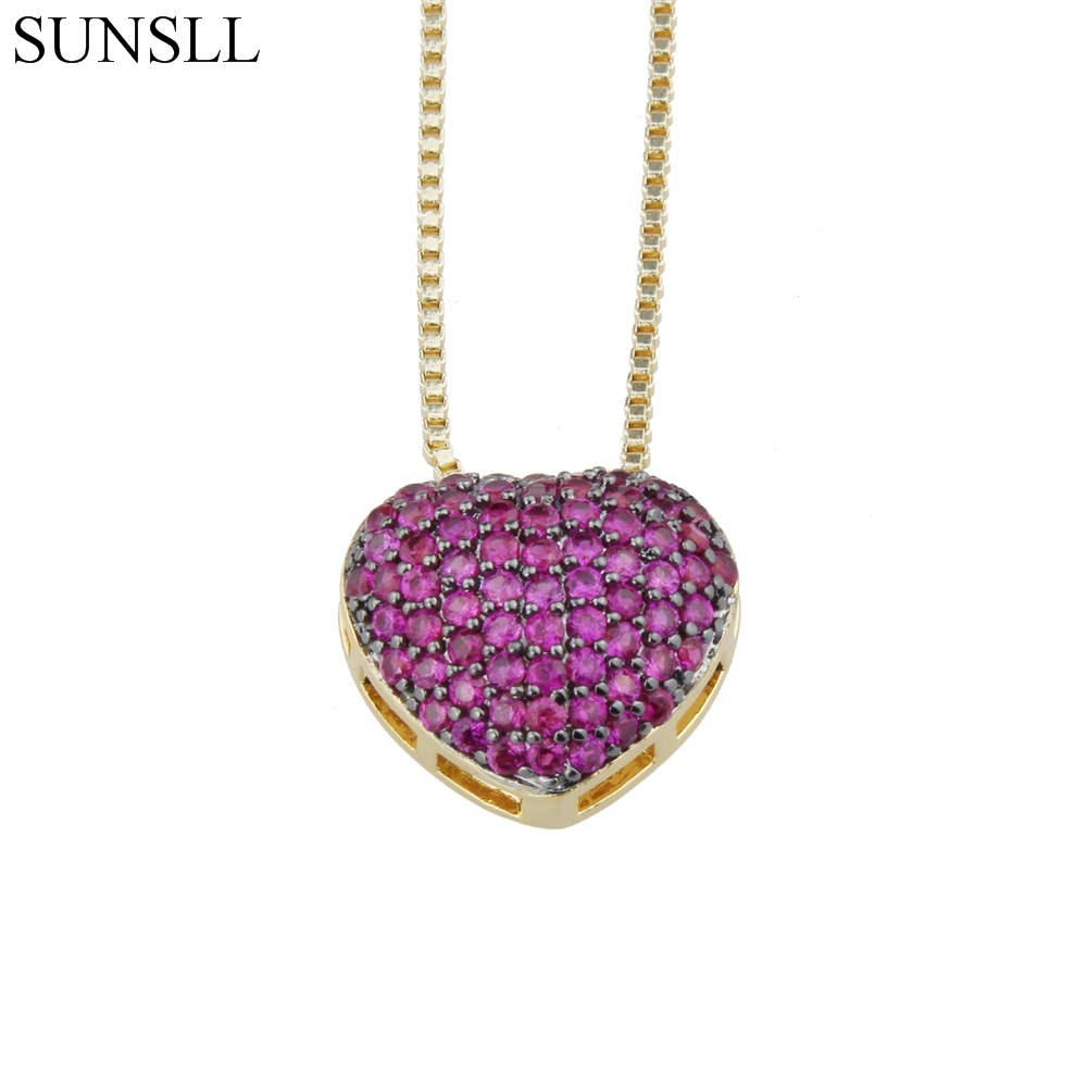 SUNSLL Golden & Silver Color Copper Cubic Zirconia Love Heart Trendy Pendant Necklaces Women's Fashion Jewelry CZ Colar Feminina