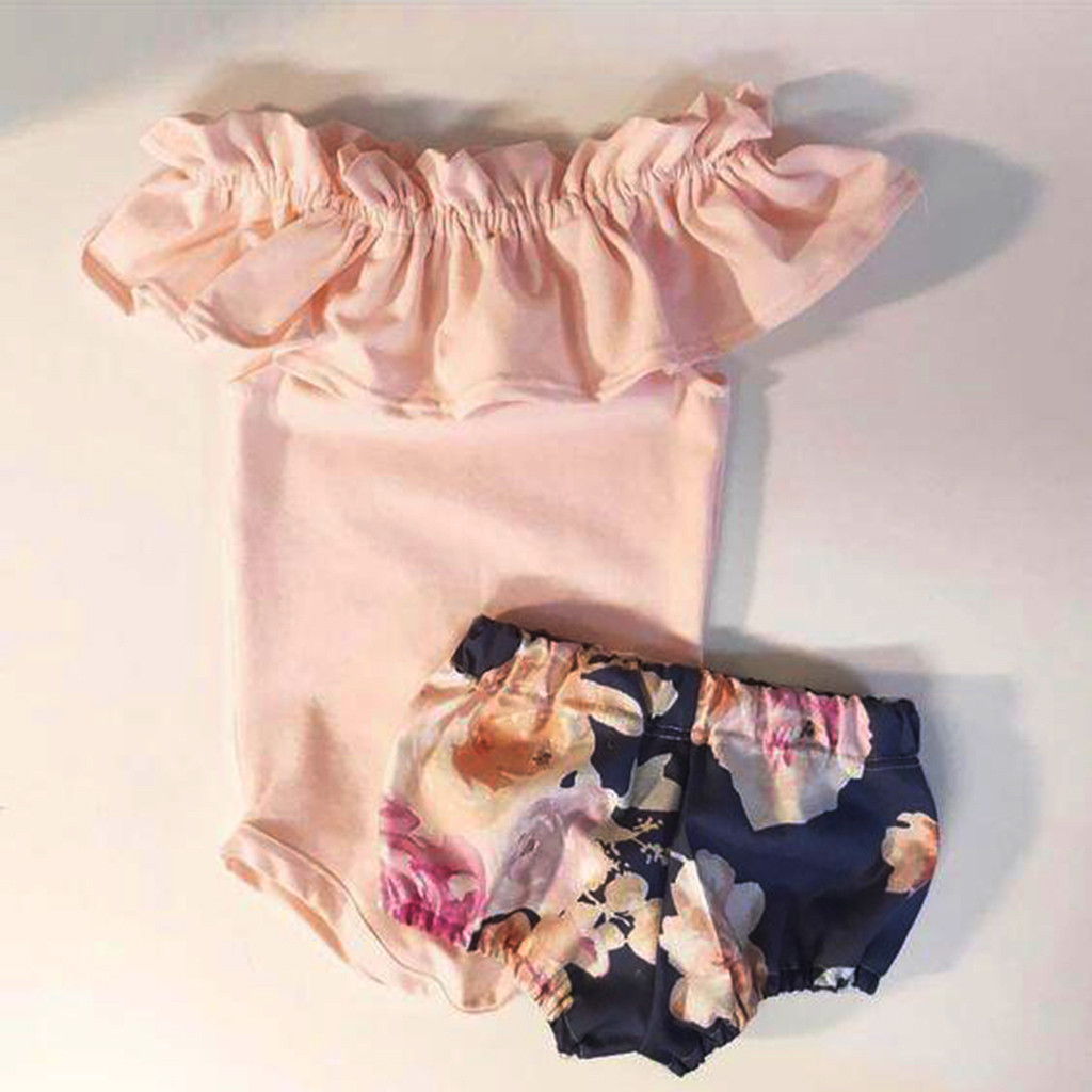 Girl baby ruffled off-the-shoulder pink blouse Newborn Infant Baby Girl Ruffles   Romper   Jumpsuit+Floral Shorts Pants Outfits #K9