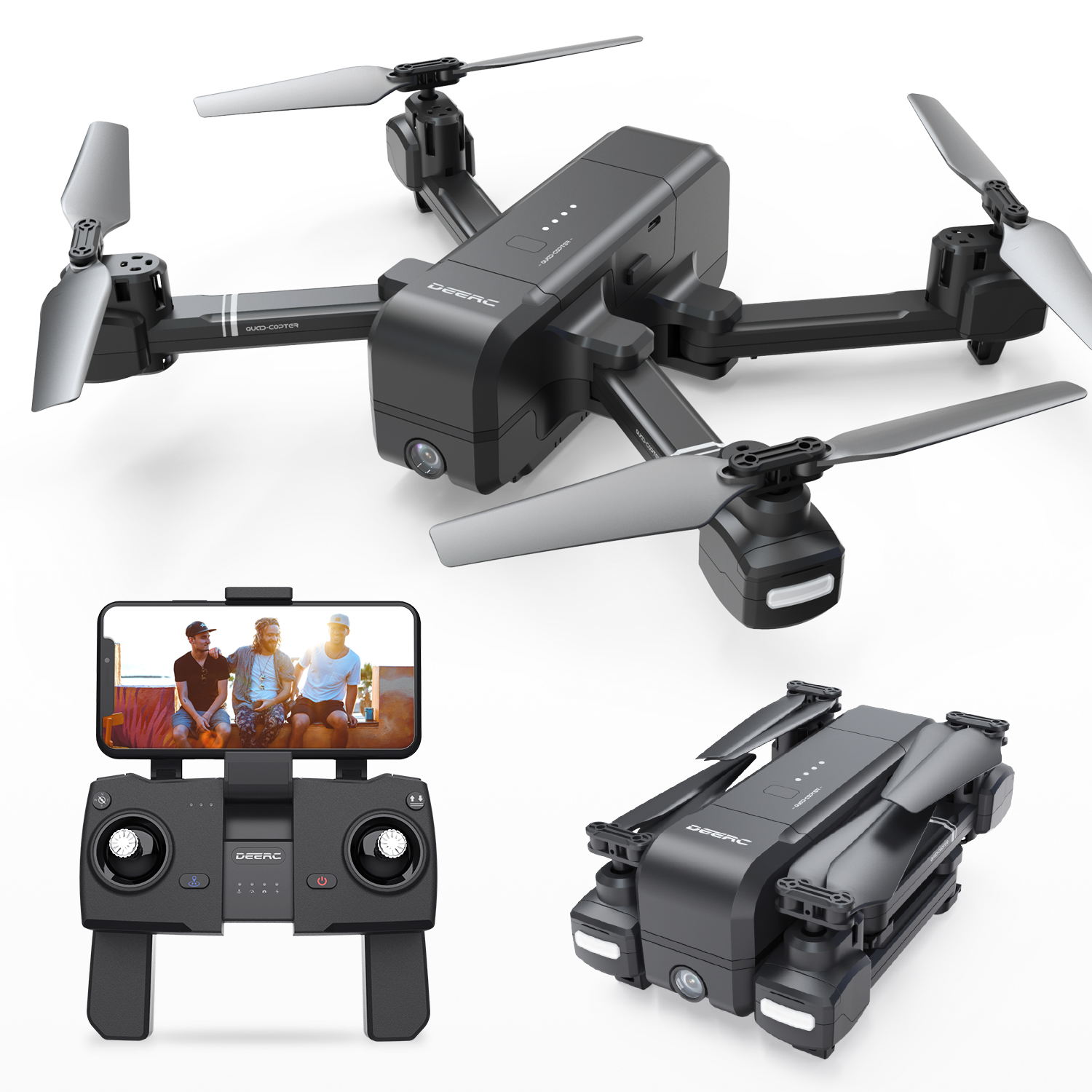 DEERC DE25 1080P FPV Wifi GPS Drone Foldable and Portable Tapfly Active Track 18 Min Flight