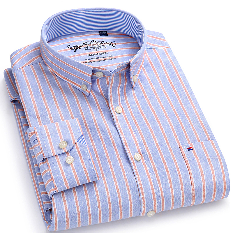 Men's Long Sleeve Contrast Plaid/Striped Oxford Dress Shirt with Left Chest Pocket Male Casual Regular-fit Buttoned Down Shirts