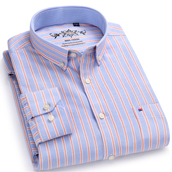 Men's Long Sleeve Contrast Plaid/Striped Oxford Dress Shirt with Left Chest Pocket Male Casual Slim-fit Buttoned Down Shirts