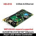 Huidu HD-D10 U-disk & Ethernet Asynchrone Full Color LED Video Display Controller 4xHUB75E Poorten Ondersteunen 512*48 /192*128 pixels