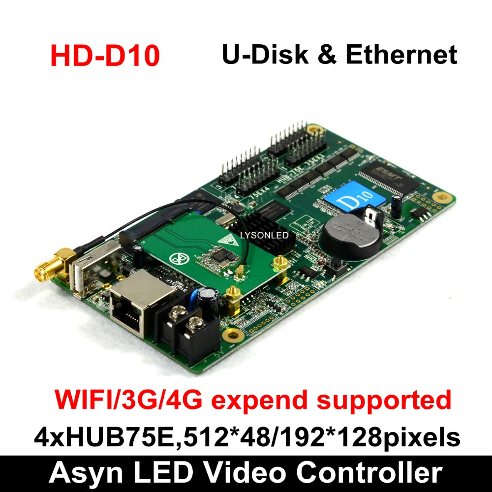 Huidu HD-D10 U-disk & Ethernet Asynchronous Full Color LED Video Display Controller 4xHUB75E Ports Support 512*48 /192*128pixels