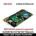 Huidu HD-D10 U-disk y Ethernet asíncrono a todo Color LED controlador de pantalla de vídeo 4xHUB75E puertos compatibles 512*48 /192*128 píxeles