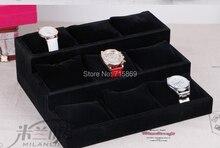 Free Ship 1pcs Black Color wood+Velvet Jewelry Display Case 12 Grid Pillow Watches Bracelet