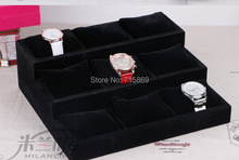 Free Ship 1pcs Black Color wood+Velvet Jewelry Display Case 12 Grid Pillow Watches Bracelet
