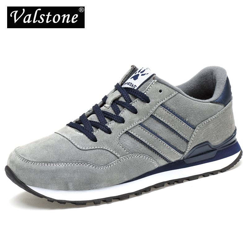 Valstone Men's Autumn Genuine Leather Sneakers 2019 Waterproof Moccasins Antiskid Rubber Walking Shoes Comfortable Hombres Grey