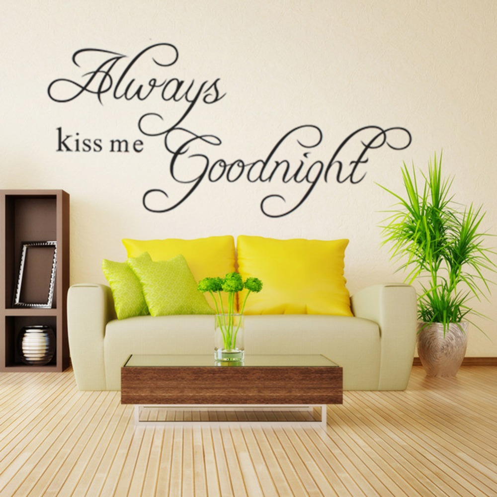 Online Shop Always Kiss Me Goodnight Wall Sticker Home Bedroom ...