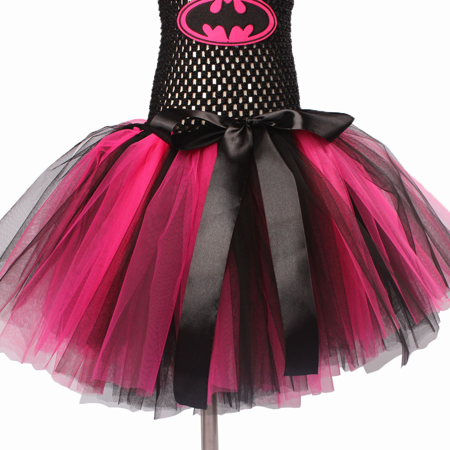 Keenomommy Super Cute Super Hero Tutu Costume Hot Pink Batgirl Girls Tutu Dress with Mask for Cosplay Party Halloween (5)