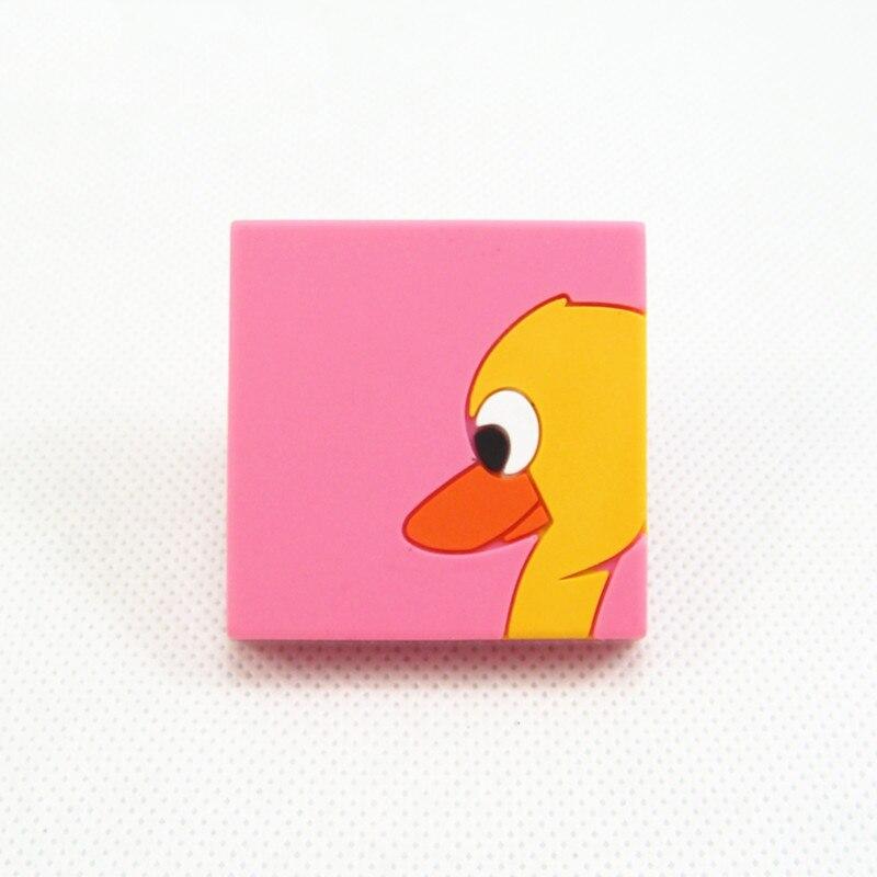 Adaptable Roze Eend Lade Trekt Kinderen Kast Kledingkast Deurklink Vierkante Knoppen Zacht Rubber Cartoon Kinderkamer Meubels Handvatten Knop 42mm