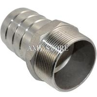 2 Male Thread Pipe Fitting X 50mm Barb Hose Tail Connector Stainless Steel BSP