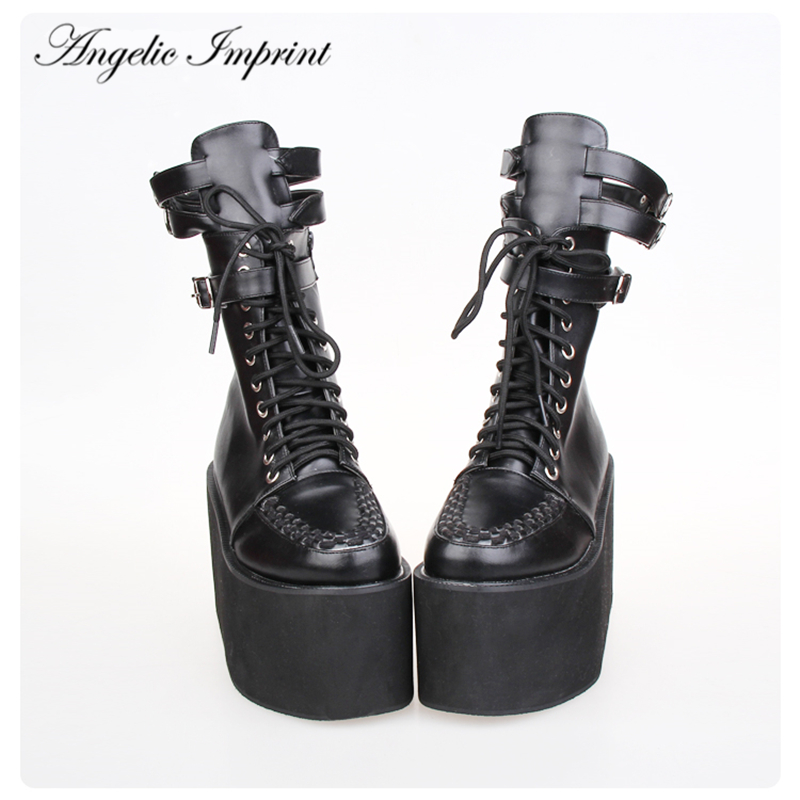 Japan Harajuku PU Leather Thick Platform Lace-up Punk Boots pu leather panel lace up flare coat