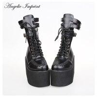 Japan Harajuku PU Leather Thick Platform Lace up Punk Boots