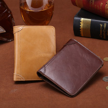 free shipping new fashion brand men's short wallet male purse 100% genuine leather Oil Wax Cowhide Leather card holder wholesale
