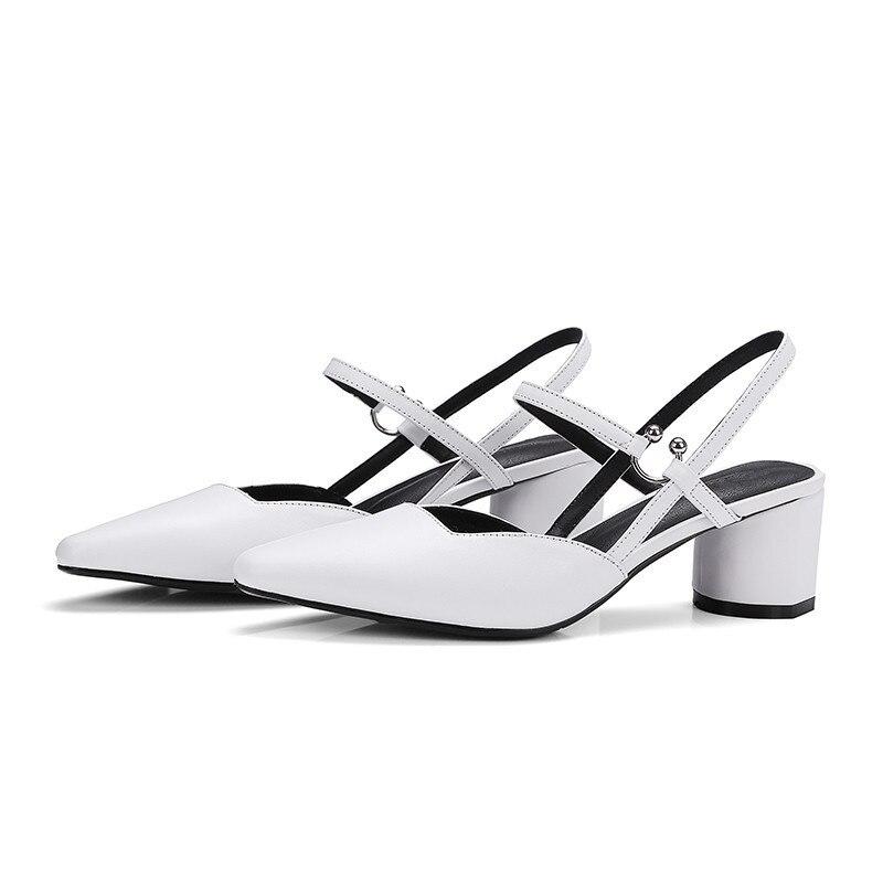 Véritable Chaussures Blanc Sexy Sandales Lady Été Talons Haute Mode 5 Asumer Femmes Carré Cm Parti En Cuir 5 0kwPOn
