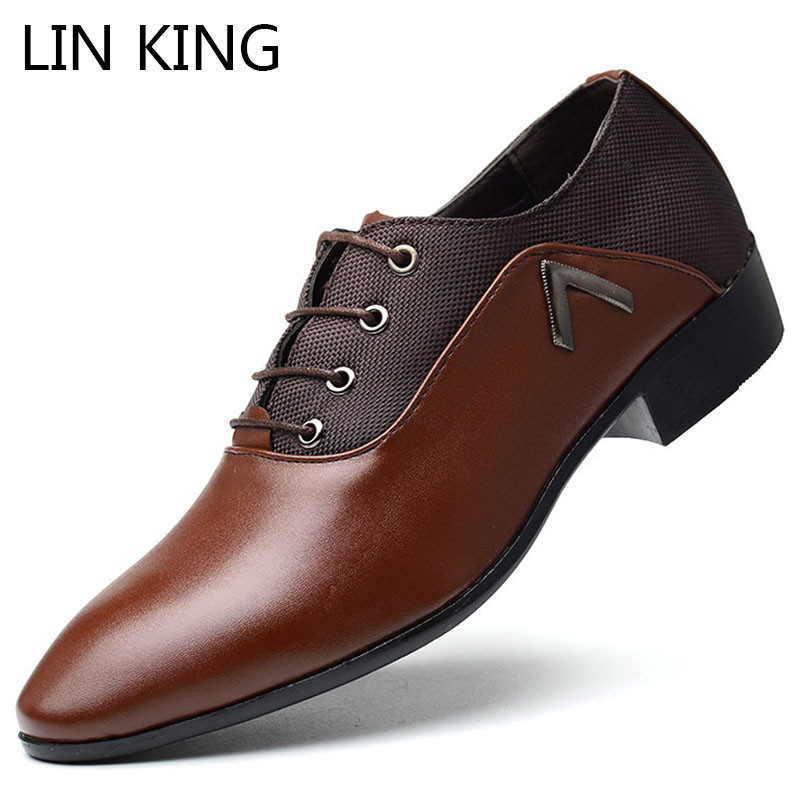 купить LIN KING Fashion Pointed Toe Men Formal Shoes Big Size 38-48 Business Office Dress Shoes Elegant Design Handsome Casual Oxfords онлайн