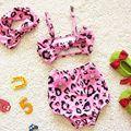 EMS DHL Free Shipping Kids Girls Animal Print Leopard Separated Swimsuit bathsuit Baby Girls Bikini 3pc Swimwear