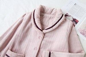 Image 4 - Fdfklak nỉ mặc mùa đông pyjamas nữ dày ấm đồ ngủ bộ đồ ngủ bộ thu đông Pijama của cặp đôi váy ngủ Bộ Pyjama Femme