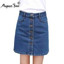 f51e676a46 Nuevo verano 2019 pantalones vaqueros Sexy falda para niñas estudiantes  señora coreana moda mujer Mini Denim Falda ropa de las m.
