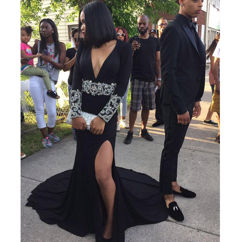Black Prom Gown Deep V Neck Court Train Floor Length Long Sleeves Side Split Wedding Party Dress