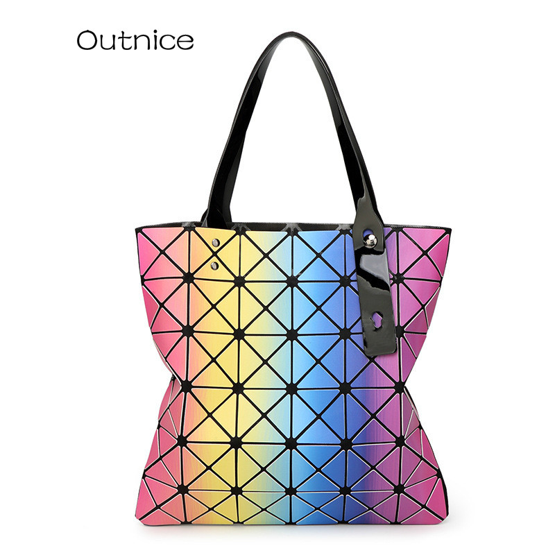 ФОТО OUTNICE Band Designer Colorful 4Style Fashion Luxury Mirror Geometry Sequins Laser Plain Handbag Folding Tote Women Shoulder Bag