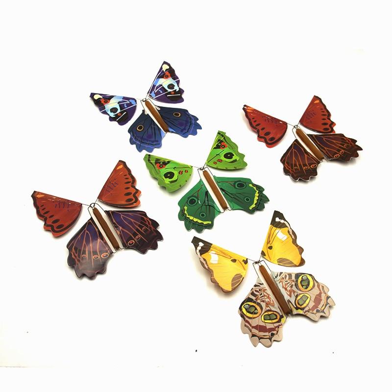 5pcs Magic Toys Hand Transformation Fly Butterfly magic tricks Novelty Surprise Prank Joke Mystical Fun Classic Toys gadgets Gag(China)