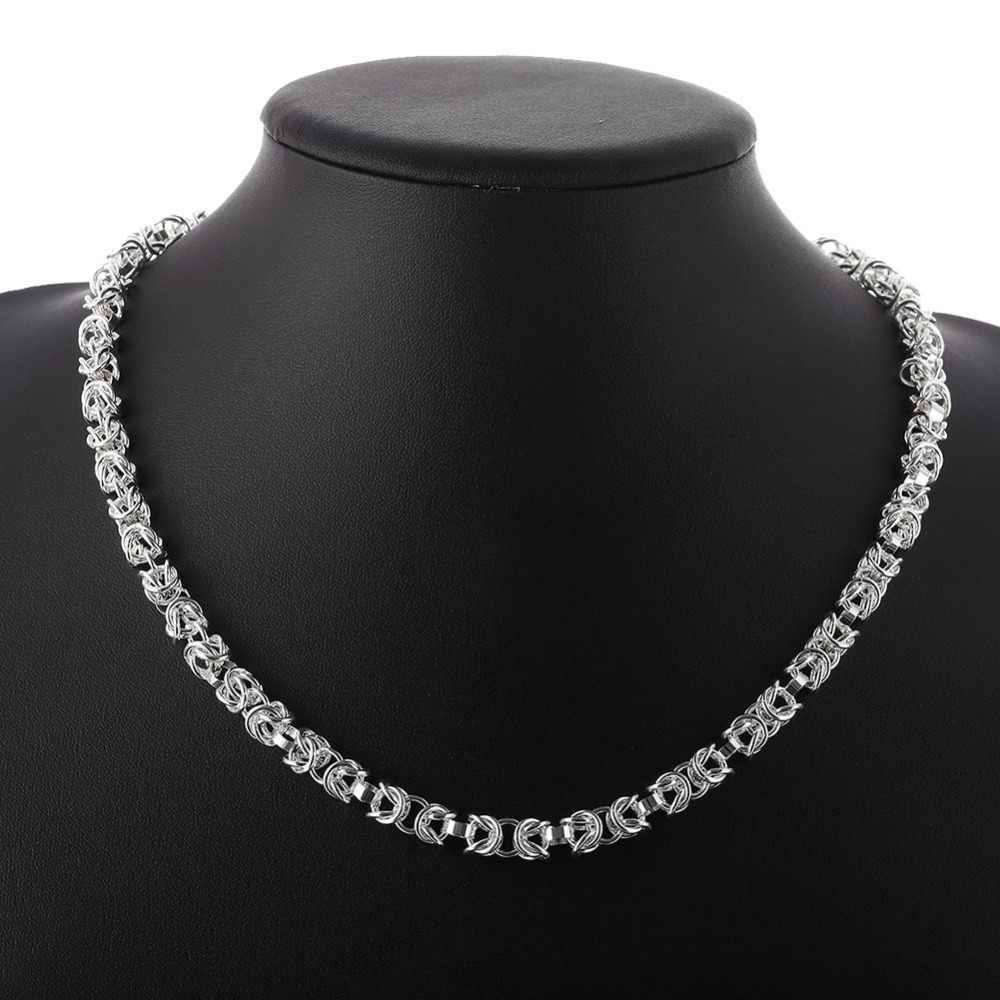 2017 ze srebra próby 925 biżuteria ustawia 5mm szerokości kosz łańcuchy linki naszyjnik bransoletka dla mężczyzn kobiety dobrze moda indyjska biżuteria zestaw
