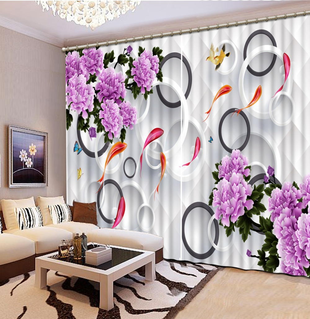 Purple flower Curtain window room Curtains for living room Home Decoration High Quality in Curtains from Home Garden