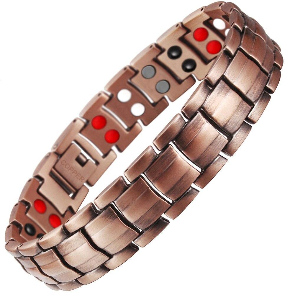 Goccia-Trasporto Libero Doppia Fila 4 IN 1 Elementi Bio Braccialetto Magnetico di Energia di Modo degli uomini di Guarigione 99.95% di Rame Puro bracciali Braccialetti