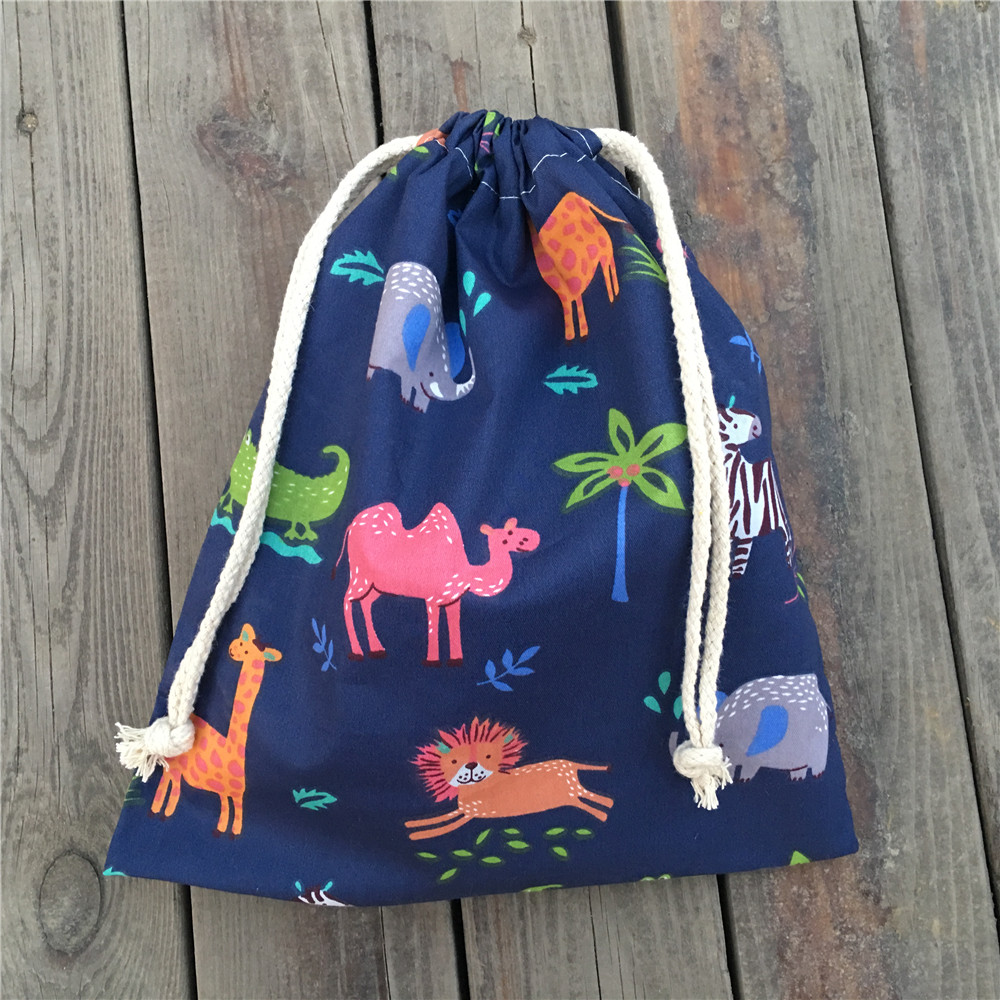YILE 1pc Cotton Drawstring Clothing Sorted Pouch Party Gift Bag Printed Forest Animals 920