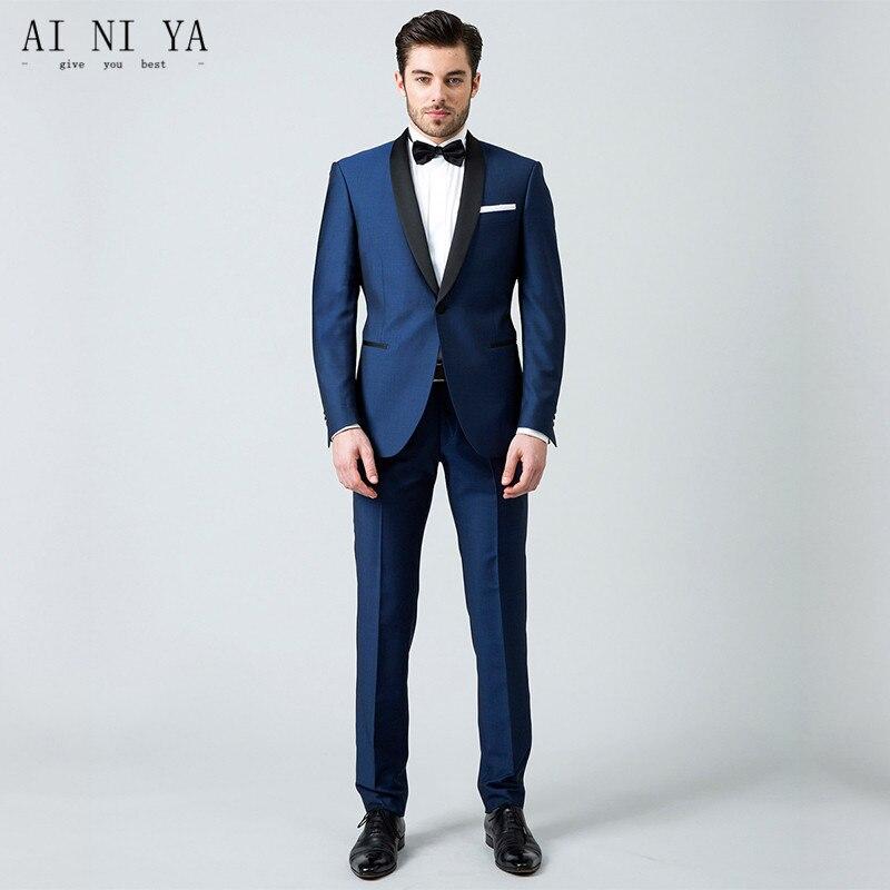 Abiti Da Cerimonia Uomo Blu.Giacca Pantaloni Abiti Da Uomo Blu Abiti Da Sposa Per Gli Uomini