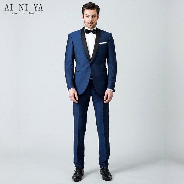 Vestito Matrimonio Uomo Blu : Giacca pantaloni abiti da uomo blu abiti da sposa per gli uomini