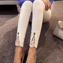 Весной 2016 новый Корейский мода slim тонкий тонкая талия кружева шить джинсы брюки цвет вилка