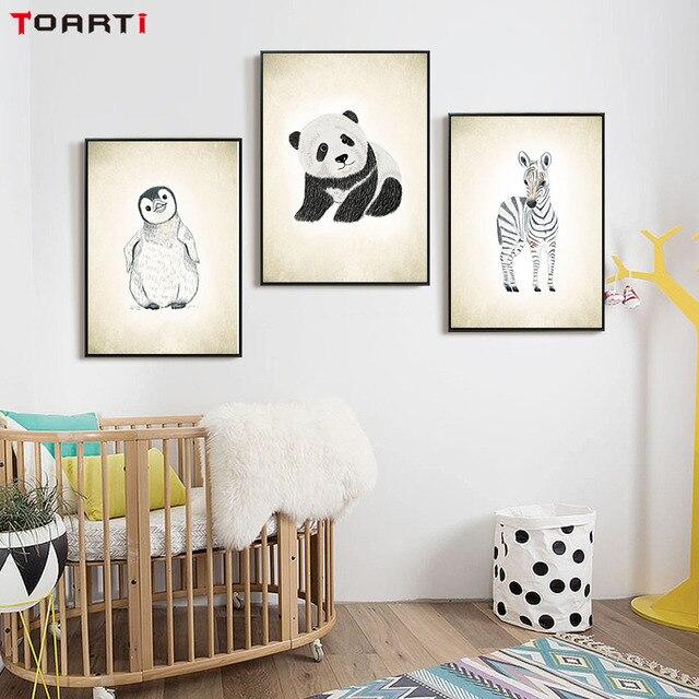 Kinderkamer Decoratie Muur.Cartoon Panda Pinguin Eend Muur Canvas Schilderij Nordic Stijl