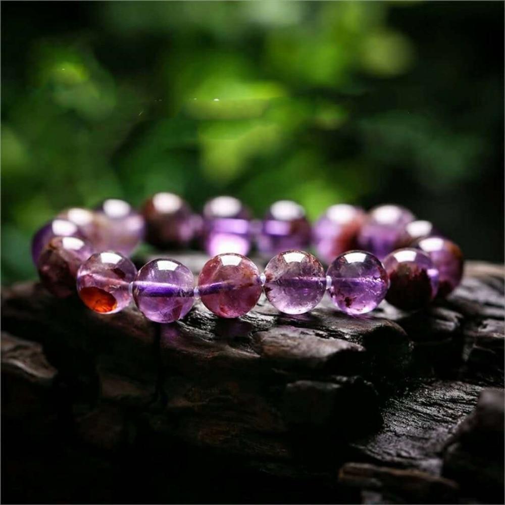 Natural Purple Phantom Quartz Cacoxenite 10mm Crystal Gemstone Round Bead Stretch Woman Bracelet AAAAA (5)