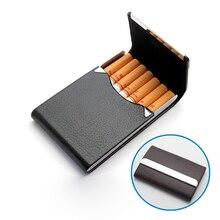 Fumeur Cigarettes cas en cuir véritable pour 7 pcs classique métal cigarette boîte de tabac à fumer Case pour hommes