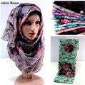 Impreso infinito de las mujeres color de la mezcla viscosa hijab head wrap musulmán bufandas bufanda 10 unids/lote