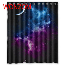 WONZOM 2017 Star Sky Polyester Fabric Shower Curtains with 12 Hooks For Bathroom Decor Modern Bath Waterproof Curtain Home Gift