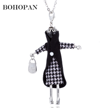 2018 Hug Doll Pendants Necklace Black Yellow Plaid Clothes Silver Chain Women Girl Kids Charms Bijoux Jewelry