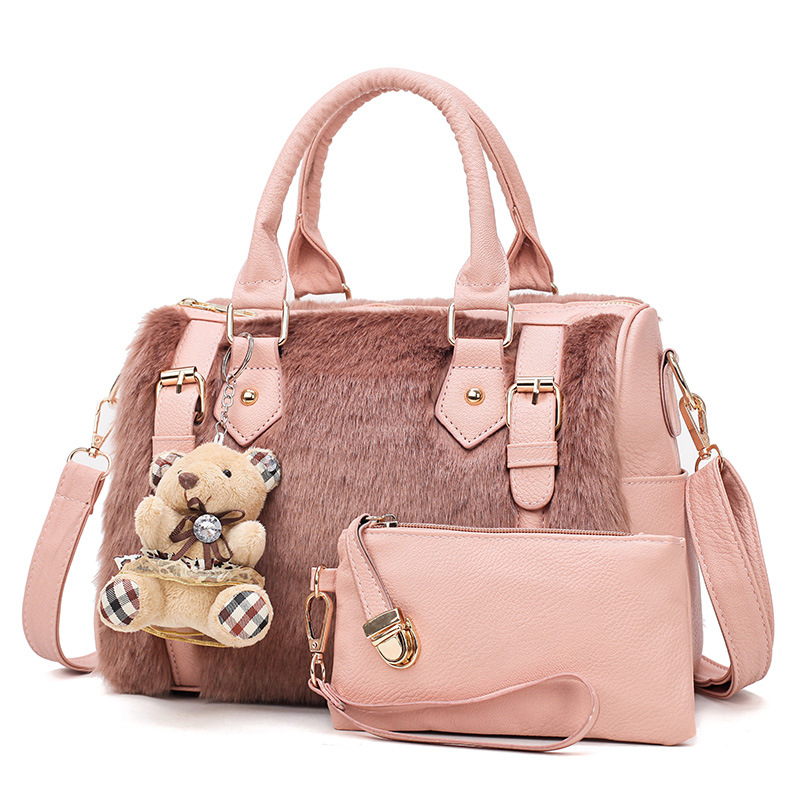 2018 NEW handbag women casual tote bag female large shoulder messenger bags high quality faux fur handbag with bear/coin bag vintage handbag women casual tote bag female large shoulder messenger bags high quality pu leather handbag with fur ball bolsa