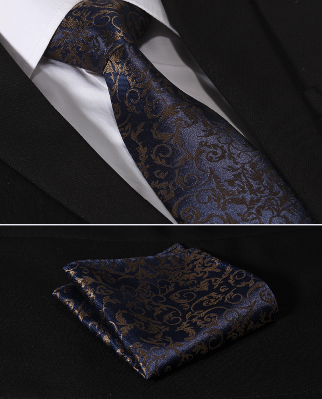 TF2014B8 Navy Blue Brown Paisley Floral 3.4