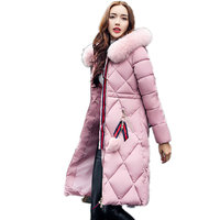 Thick Big Fur Collar Plus Size Cotton Women Korean Stitching Slim Was Thin Winter Jacket Wadded