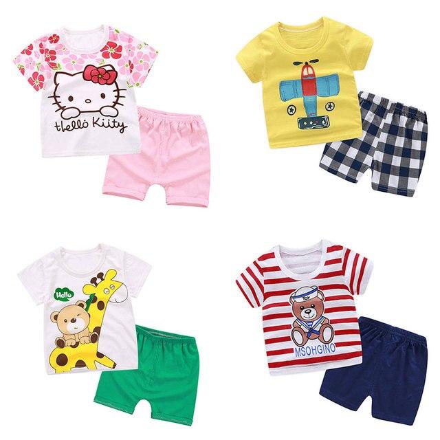 Conjuntos de roupas crianças dos desenhos animados da criança meninas roupas de verão define top + calça 2 pçs/sets crianças casuais meninos roupas ternos do esporte outfit