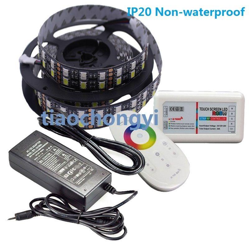 12 V 5 M RGBW 5050 600 LED bande de LED Double rangée + contrôleur 2.4G + adaptateur secteur 10A