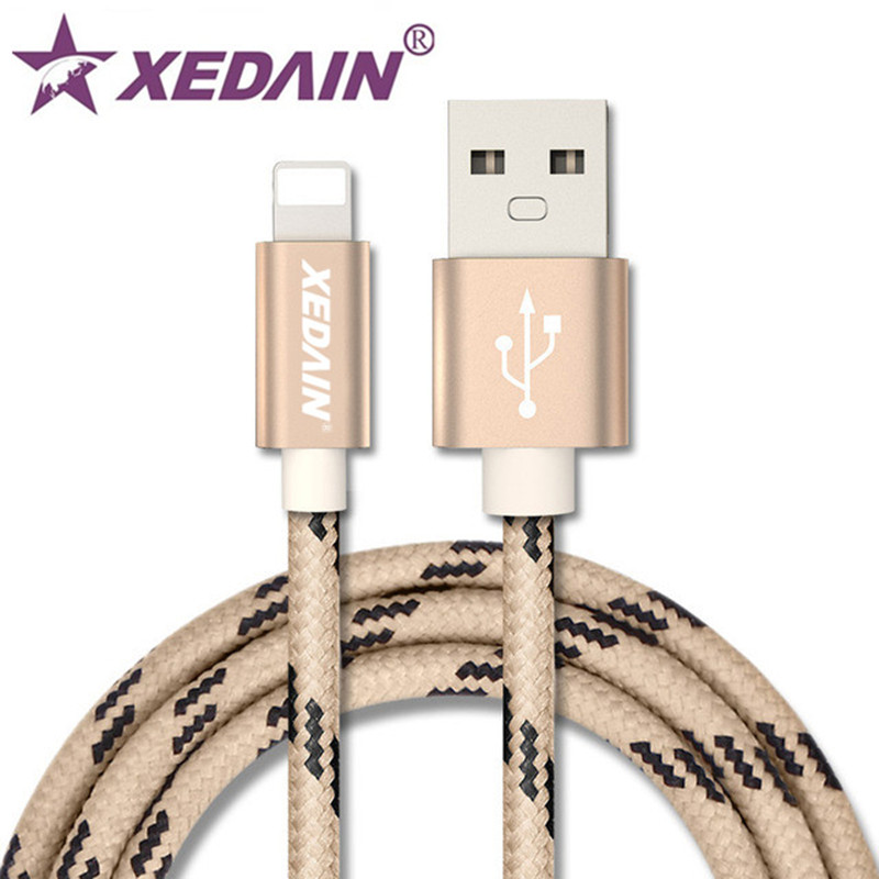 XEDAIN Mobile Phone USB Charger Cables For iPhone 5SE 6 7 8 Plus 1M 2M Durable Nylon Woven Data Sync Cable For iPad Mini Air2 3