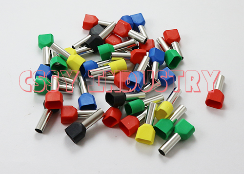 1000pcs/lot TE6014 2x6mm2 Bootlace cooper Ferrules kit set Wire Copper Crimp Connector Insulated Cord Twin Pin End Terminal wholesal e1008 insulated cable cord end bootlace ferrule terminals tubular wire connector for 1 0mm2 wire 1000pcs