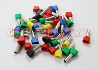 1000pcs/lot TE6014 2x6mm2 Bootlace cooper Ferrules kit set Wire Copper Crimp Connector Insulated Cord Twin Pin End Terminal